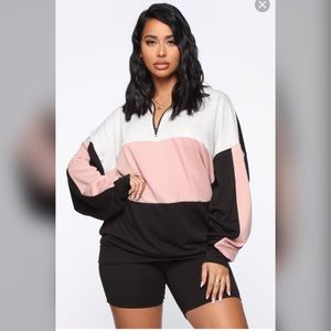 Fashion Nova quarter zip sweater biker short set